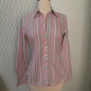 Lilly Pulitzer Multi-Color Stripe Fitted Blouse